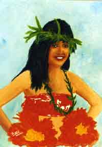 "hawaii art prints, "" Hula Dancer"",painting by hawaii artist Donald K. Hall #82"