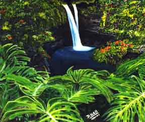 "hawaii art prints, hawaiian Landmark, ""Rainbow Fall,"" by hawaii artist Donald K. Hall #83"