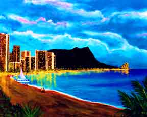 Hawaii Beach  art, Waikiki Diamond Head print by Hawaii Beach Artist Donald K. Hall #92
