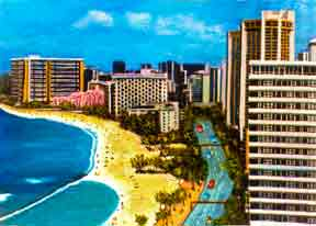 Hawaii Beach  art, Waikiki Beach Hotels Prints by Hawaii Beaches Artist Donald K. Hall #94